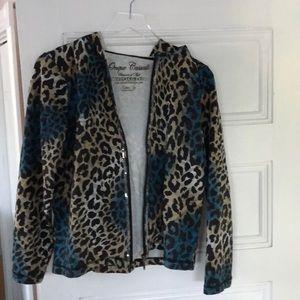 Blue leopard print light hoodie